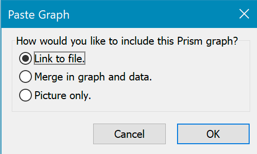 GraphPad Prism 8 User Guide - Placing a graph from another project