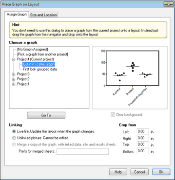 GraphPad Prism 8 User Guide - Placing a graph from the same project